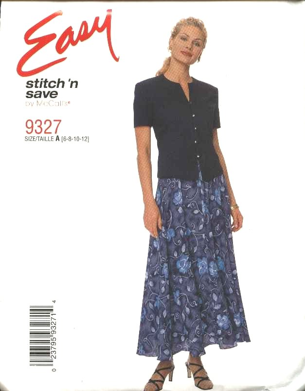 McCall's Sewing Pattern 9327 Misses Size 6-12 Easy Bias Skirt Button Front Short Sleeve Top