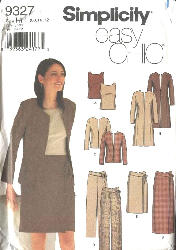 Simplicity Sewing Pattern 9327 Misses Size 6-12 Easy Wardrobe Coat Jacket Pants Skirts Top