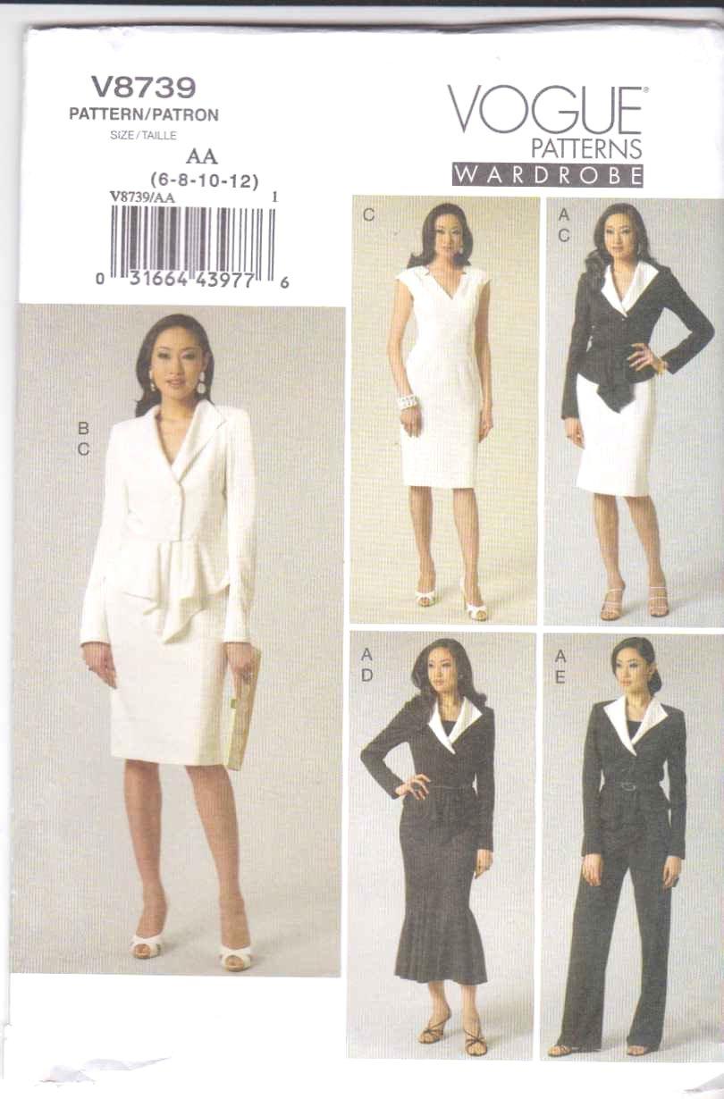 Vogue Sewing Pattern 8739 Misses Size 6-12 Wardrobe Jacket Dress Skirt Pants