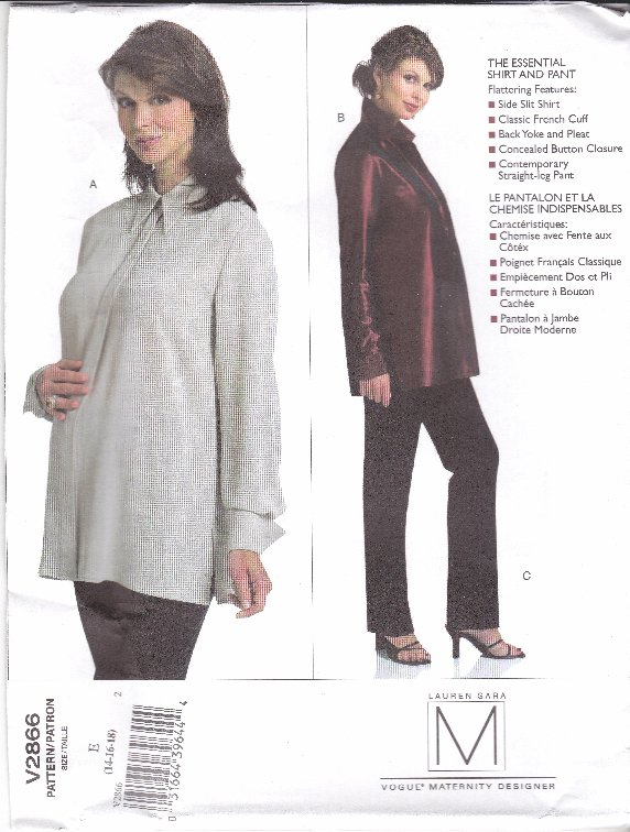 Vogue Sewing Pattern 2866 Misses Size 14-16-18 Easy Classic Maternity Shirt Top Pants
