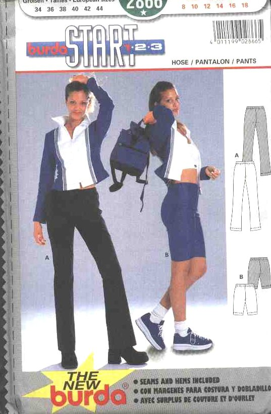 Burda Sewing Pattern 2866 Misses Size 8-18 Work-out Stretch Pants Shorts