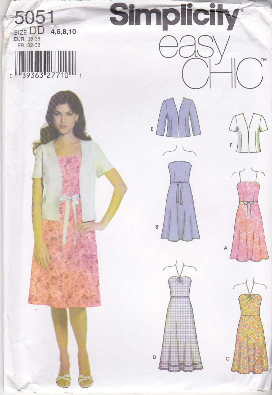 Simplicity Sewing Pattern 5051 Misses Size 4-6-8-10 Easy Summer Sundress Strapless Dress Jacket