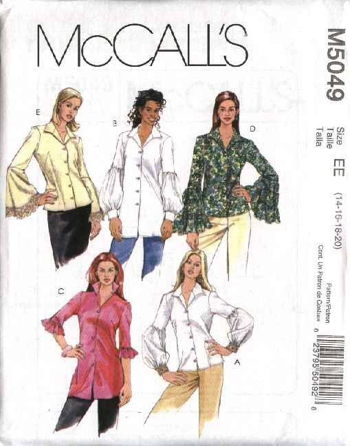 McCall's Sewing Pattern 5049 M5049 Misses Size 14-20 Button Front Blouses Shirts Sleeve Variations