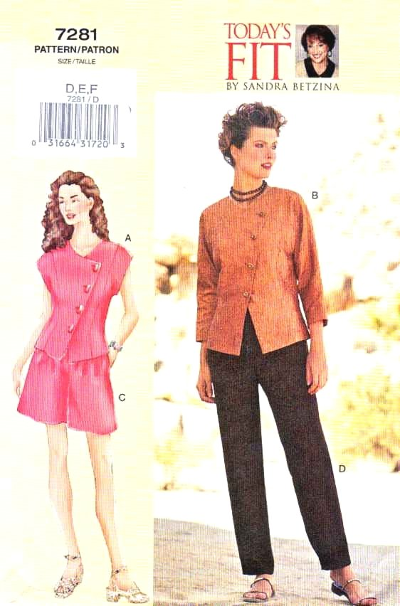 Vogue Sewing Pattern 7281 Misses Size 16-22 (DEF) Sandra Betzina Asymmetrical Top Shorts Pants