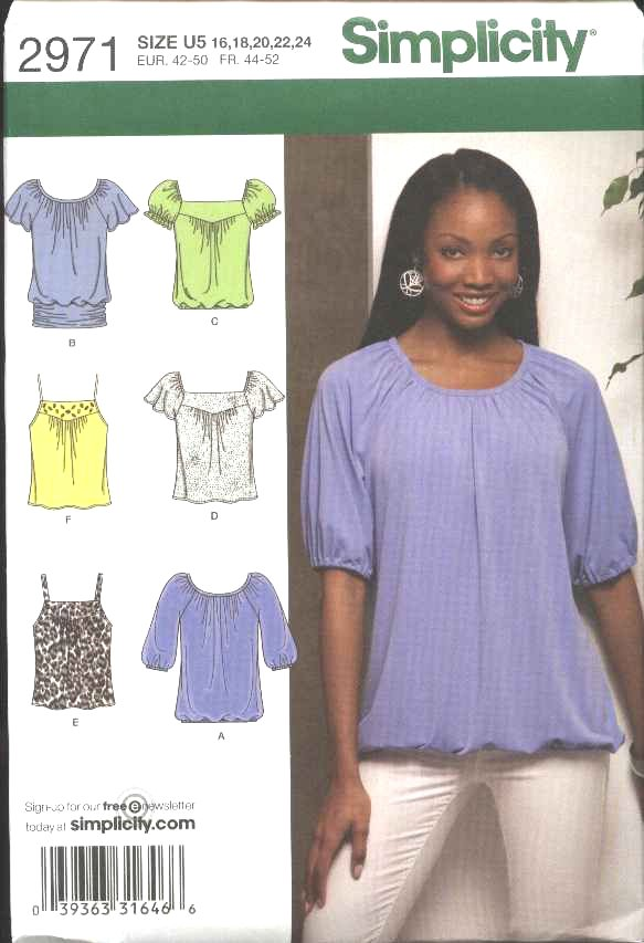 Simplicity Sewing Pattern 2971 Misses Size 16-24 Pullover Loose Fitting  Knit Tops Tunics
