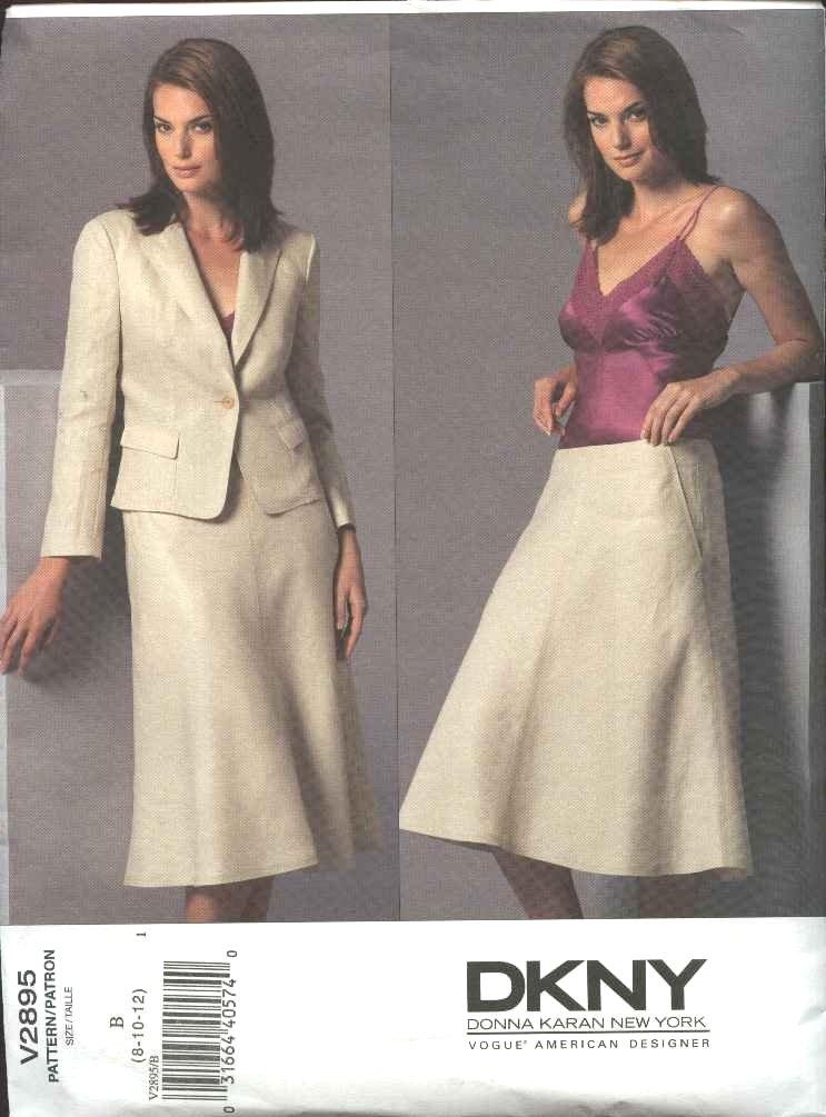 Vogue Sewing Pattern 2895 Misses Size 8-10-12 DKNY Jacket Skirt Suit