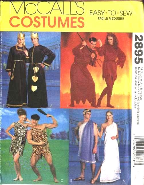 """McCall's Sewing Pattern 2895 Misses Mens Chest Sizes 29 1/2 - 44"""" Costumes Caveman Grecian Devils"""