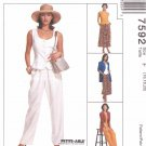 McCall's Sewing Pattern 7592 Misses Size 16-18-20 Easy Wardrobe Pants Skirt Vest Jacket