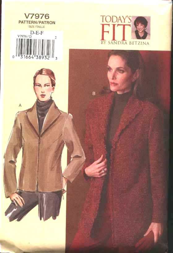 Vogue Sewing Pattern 7976 Misses Size 16-22 Sandra Betzina Lined Zipper Front Jacket