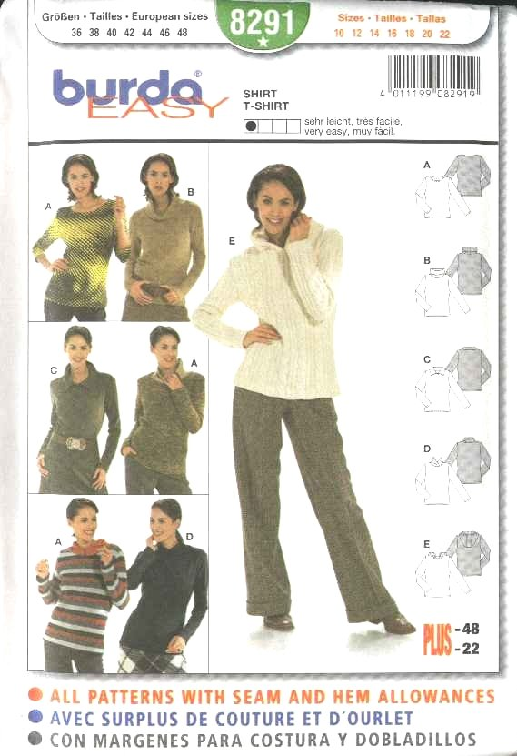 Burda Sewing Pattern 8291 Misses Size 10-22 Easy Long Sleeved T-Shirts