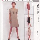McCall's Sewing Pattern 7542 Misses Size 12-16 Easy Dress Unlined Jacket Vest Straight Skirt