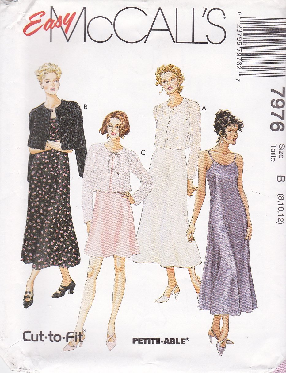McCall's Sewing Pattern 7976 Misses Size 16-20 Easy Slip Dress Length Options Jacket