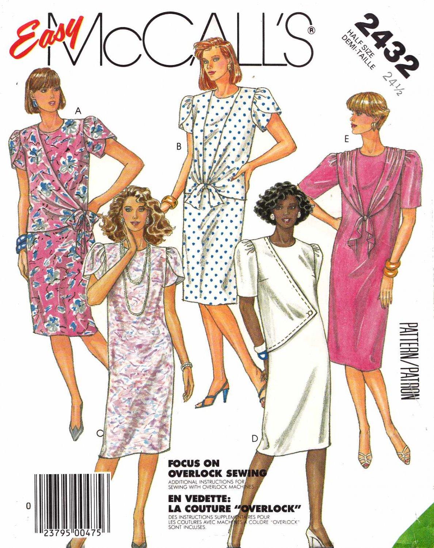 McCall's Sewing Pattern 2432 Women's Half Size 24 ½ Easy Dress Sleeve Drape Options