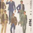 McCall's Sewing Pattern 7637 M7637 Mens Size 44 Basile Suit Jacket Vest Pants