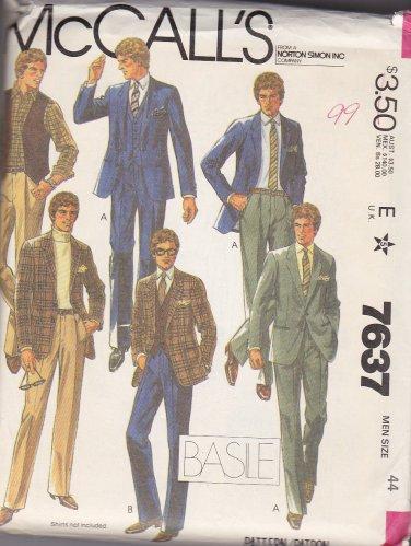 McCall's Sewing Pattern 7637 M7637 Mens Size 44 Basile Suit Jacket Vest Pants