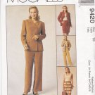 McCall's Sewing Pattern 9420 Misses Size 10 Jones NY Wardrobe Lined Jacket Pants Straight Skirt