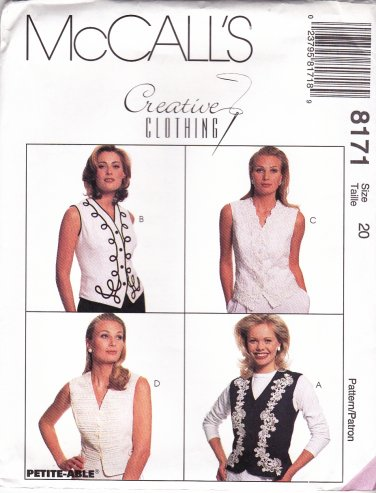 McCall's Sewing Pattern 8171 Misses Size 20 Creative Clothing Button Front Lined Vest Trim Options