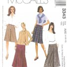 McCall's Sewing Pattern 3343 M3343 Misses Size 12-18 Classic A-Line Pleated Short Long Skirts