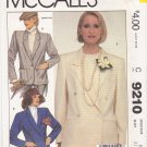 McCall's Sewing Pattern 9210 Misses Size 14 Single Double Breasted Long Sleeve Lined Jacket
