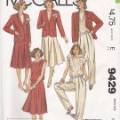 McCall's Sewing Pattern 9429 Misses Size 10 Wardrobe Lined Jacket Pants Skirt Blouse