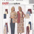 McCall's Sewing Pattern 9412 M9412 Misses Size 8-12 Easy Wardrobe Cardigan Vest Pants Slipdress