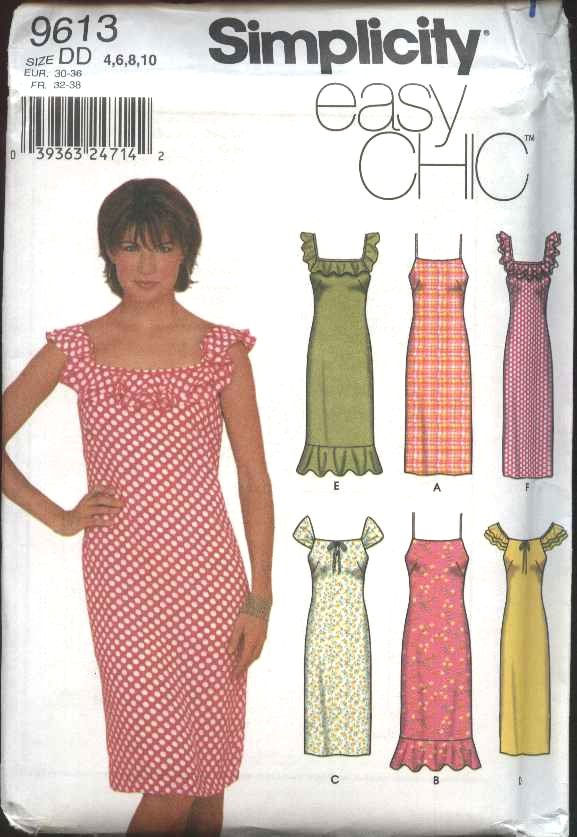 Simplicity Sewing Pattern 9613 Misses Size 4-10 Sundress Summer Straight Sleeveless Dress