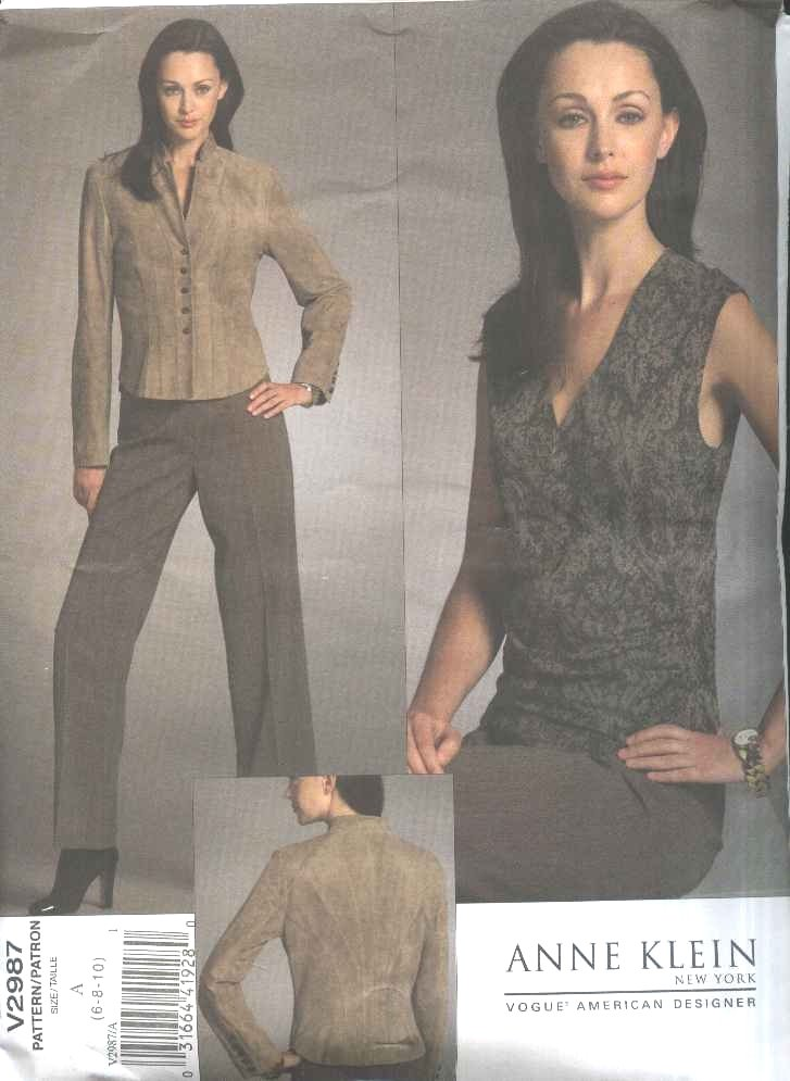 Vogue Sewing Pattern 2987 Misses Size 6-8-10 Anne Klein Lined Jacket Sleeveless Top Pants