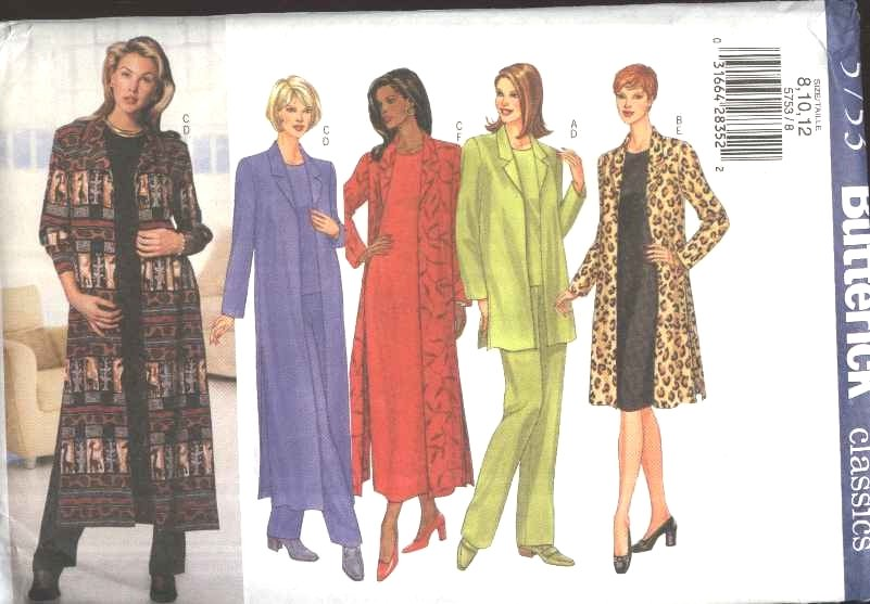 Butterick Sewing Pattern 5753 Misses Size 8-12 Easy Classic Wardrobe Jacket Duster Dress Top Pants