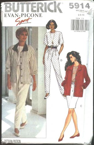 Butterick Sewing Pattern 5914 Misses Size 18-22 Easy Wardrobe Jacket Top Straight Skirt Pants