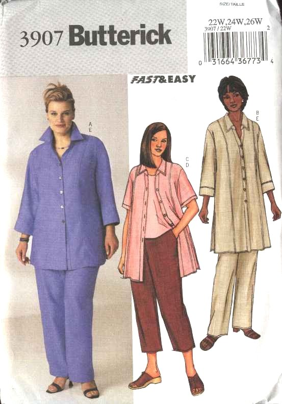 Butterick Sewing Pattern 3907 Womans Plus Size 22W-26W Easy Button Front Shirt Tunic Pants