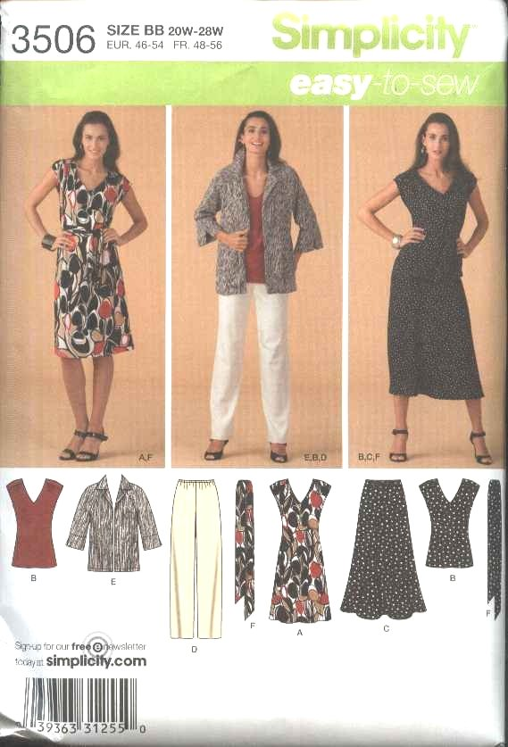 Simplicity Sewing Pattern 3506 Womans Plus Size 20W-28W Easy Wardrobe Dress Skirt Top Pants Jacket