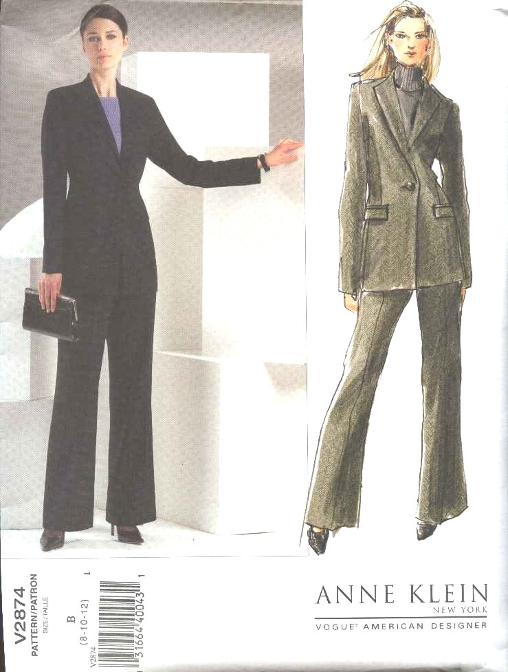 Vogue Sewing Pattern 2874 Misses Size 20-22-24 Anne Klein Jacket Pants Pantsuit