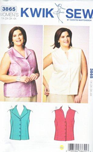 Kwik Sew Sewing Pattern 3865 Women's Plus Size 1X-4X (22W-32W) Button Front Sleeveless Shirt