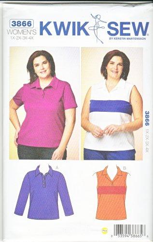 Kwik Sew Sewing Pattern 3866 Women's Plus Size 1X-4X (22W-32W) Pullover Knit Tops Polo Shirt