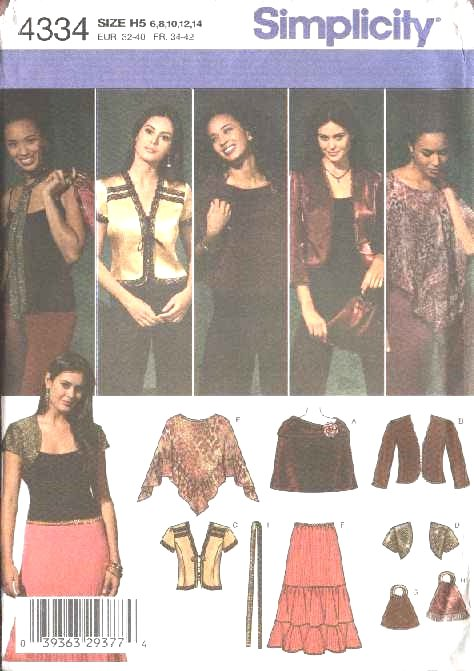 Simplicity Sewing Pattern 4334 0594 0743 Misses Size 6-14 Boho Wardrobe Skirt Jacket Shrug Poncho
