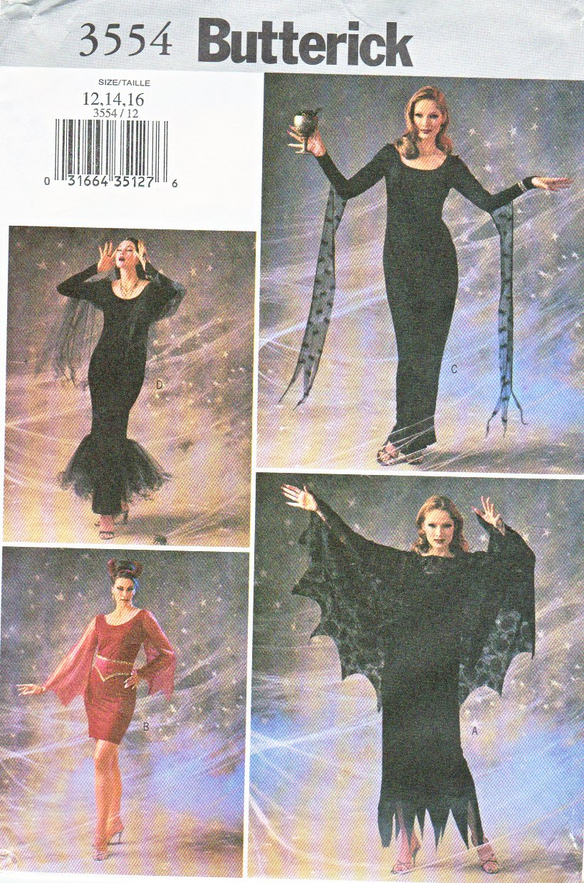 Butterick Sewing Pattern 3554 Misses Size 12-14-16 Gothic Goth Witch Gown Dress Costume