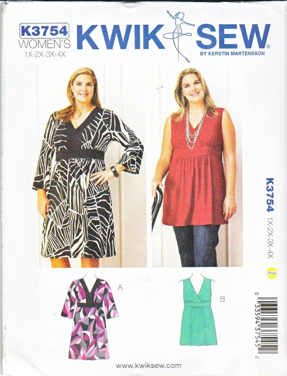Kwik Sew Sewing Pattern 3754 Women's Plus Size 1X-4X (22W-32W) Pullover Dress Tunic Sleeve Options