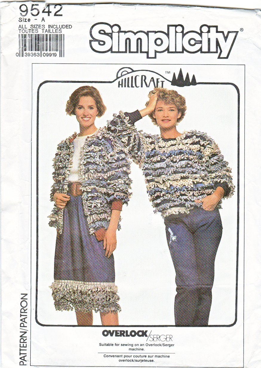 Simplicity Sewing Pattern 9542 Misses Sizes 10-20 Fringed Pull On Skirt Jacket Knit Pullover Top
