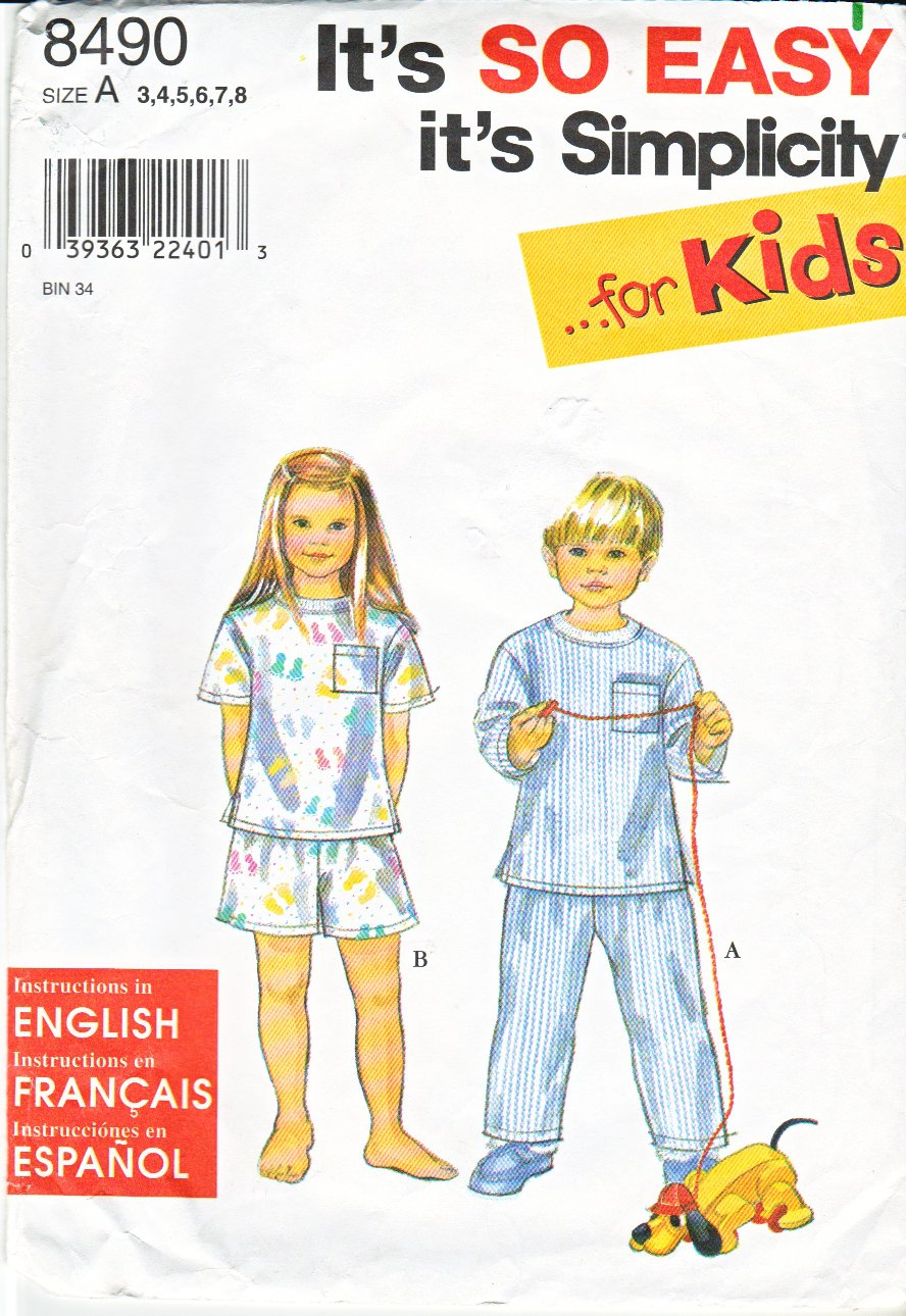 Simplicity Sewing Pattern 8490 Girls Boys size 3-8 Easy Pajamas Tops Shorts Long Pants Pyjamas