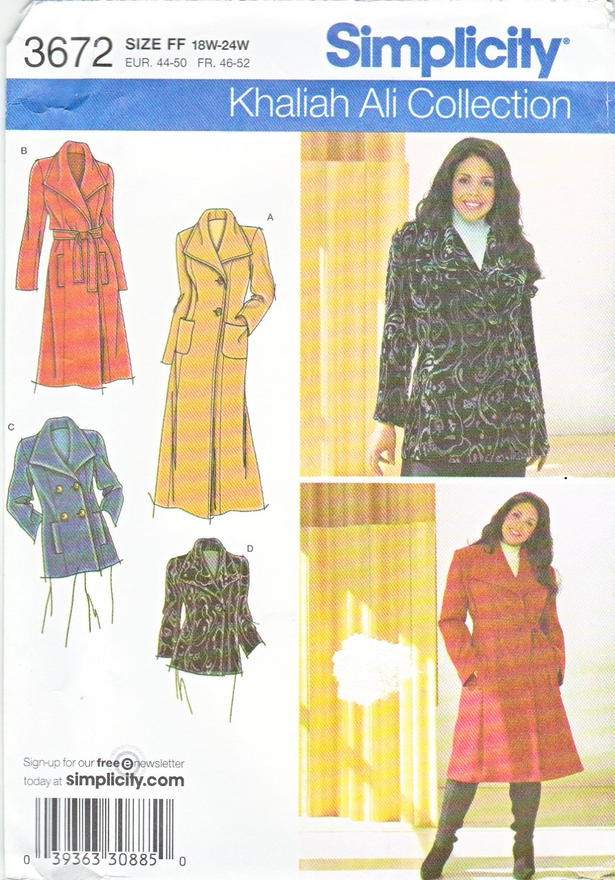 Simplicity Sewing Pattern 3672 Womans Plus Size 18W-24W Khaliah Ali Winter Coat Jacket