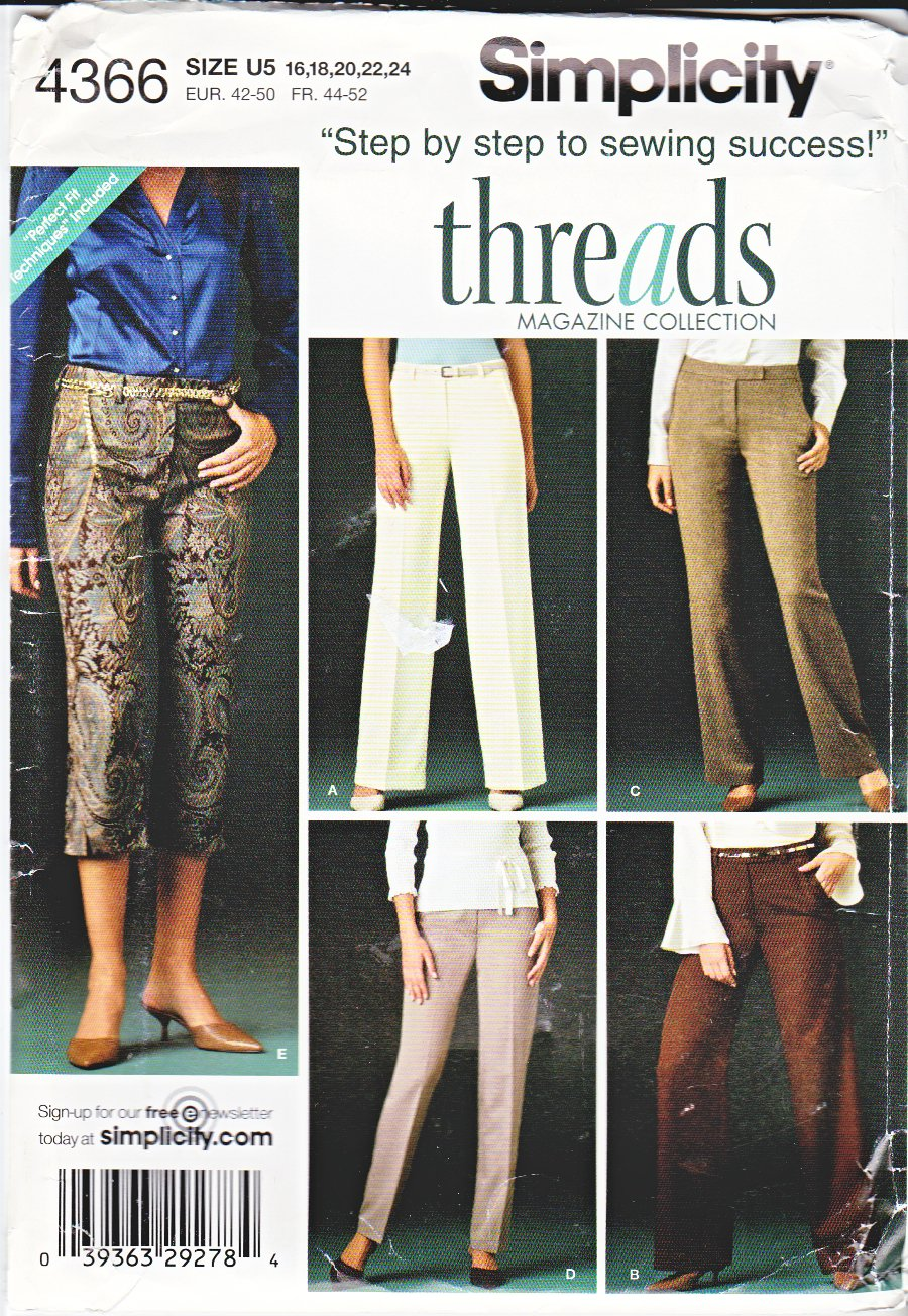Simplicity Sewing Pattern 4366 Misses Size 16-24 Threads Magazine Collection Fitted Pants Capris