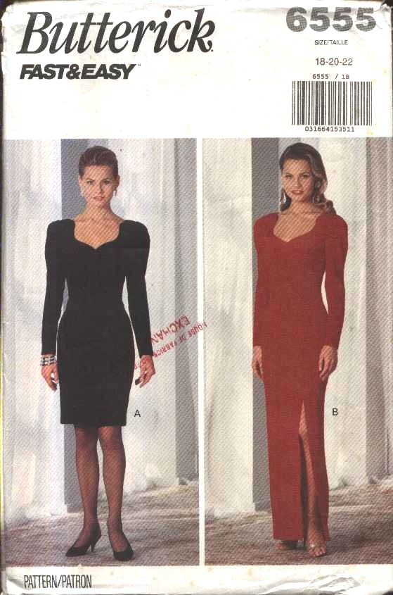 Butterick Sewing Pattern 6555 Misses Size  6-10 Easy Formal Evening Gown Short Long Dress