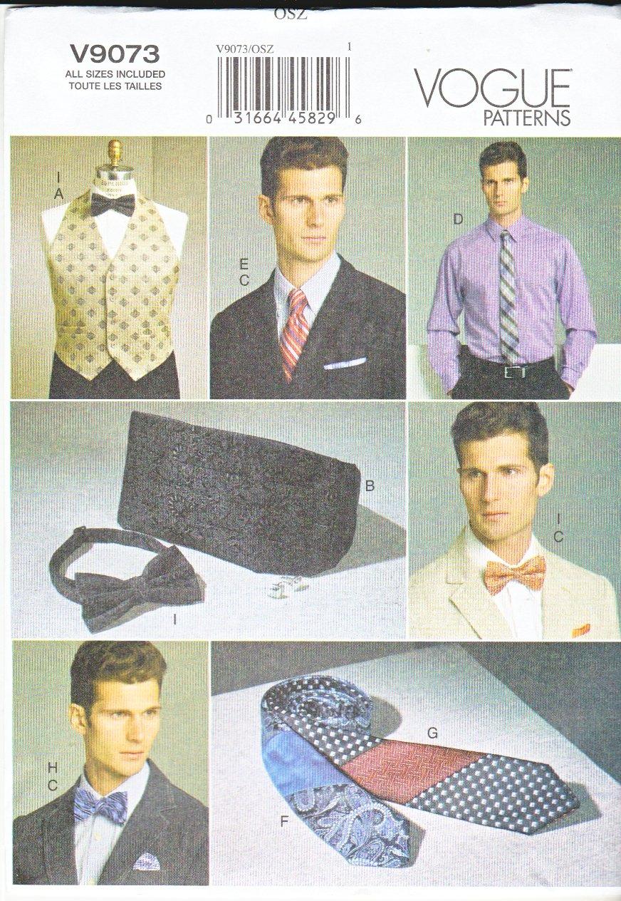 """Vogue Sewing Pattern 9073 V9073 Men's Chest Size 34-52"""" Lined Vest Cummerbund Necktie Bowtie"""