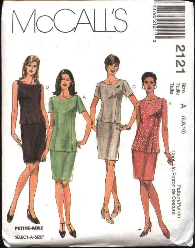 McCall's Sewing Pattern 2121 Misses Size 18-22 Fitted Straight Skirt Fitted Top Tunic 2-Piece Dress