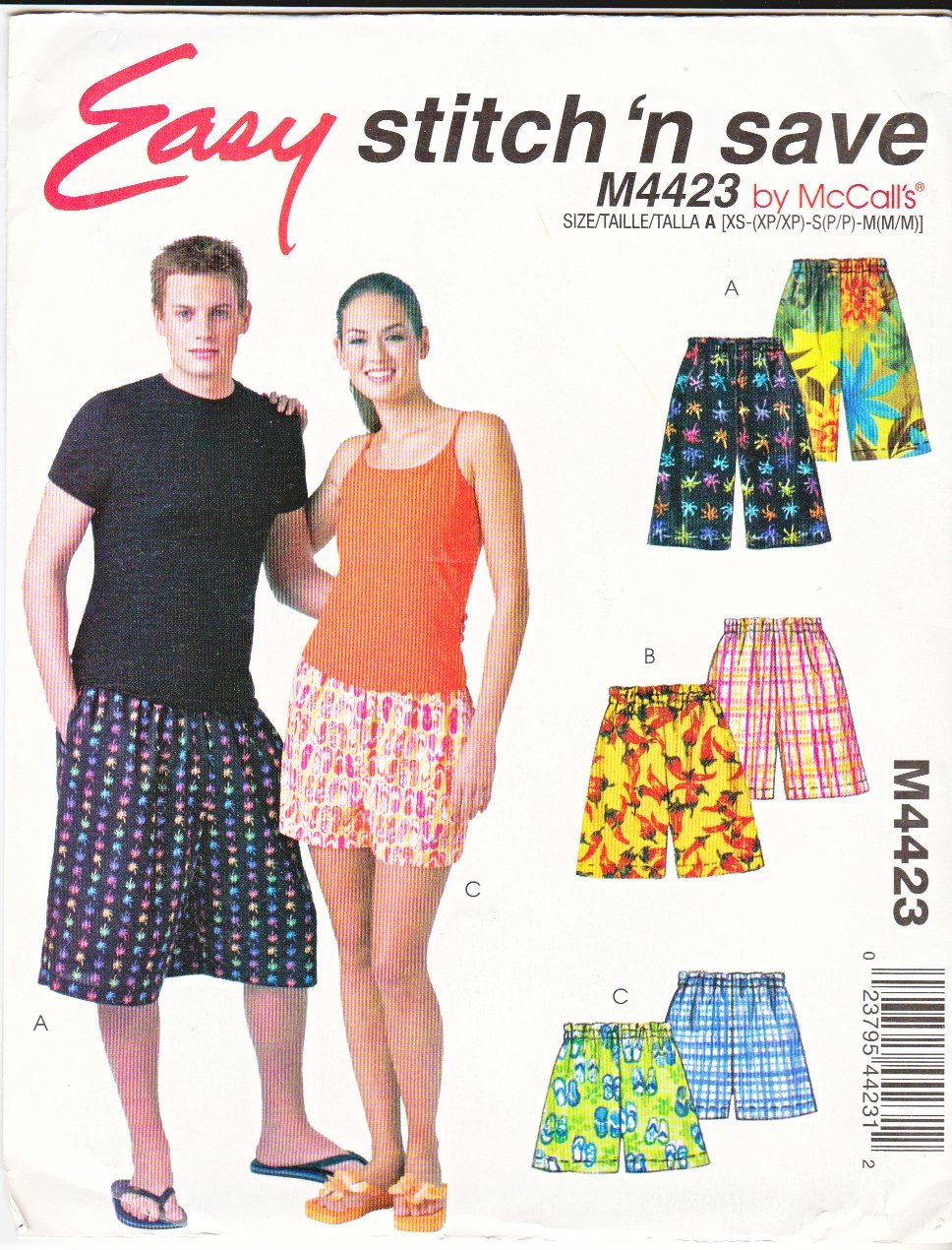 """McCall's Sewing Pattern 4423 M4423 Misses Mens Hip Size 32 1/2-40"""" Easy Boxer Shorts Three Lengths"""