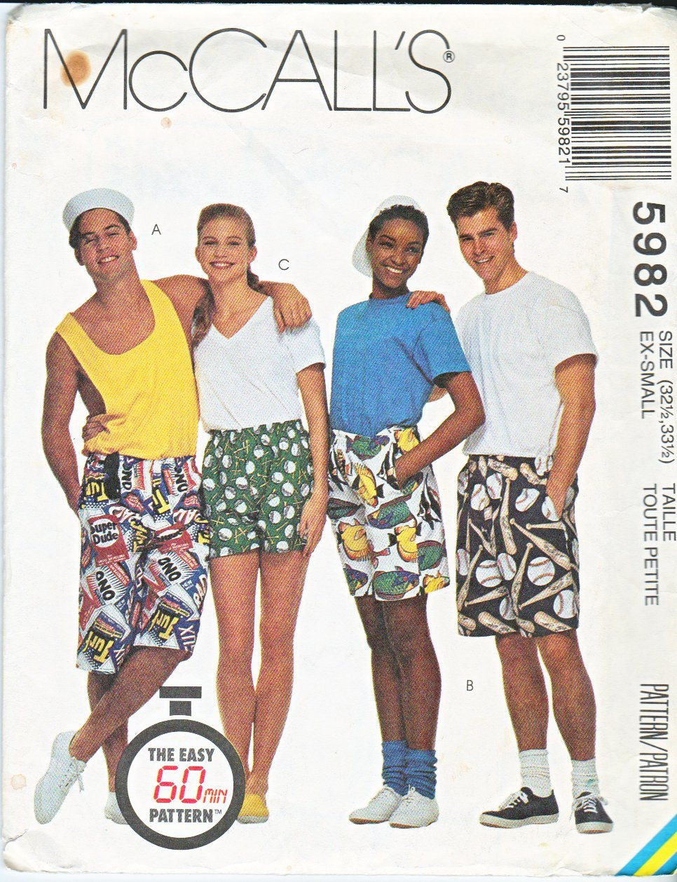 McCall's Sewing Pattern 5982 M5982 8934 Misses Mens Large Hip Size 42-44 Unisex Boxer Shorts