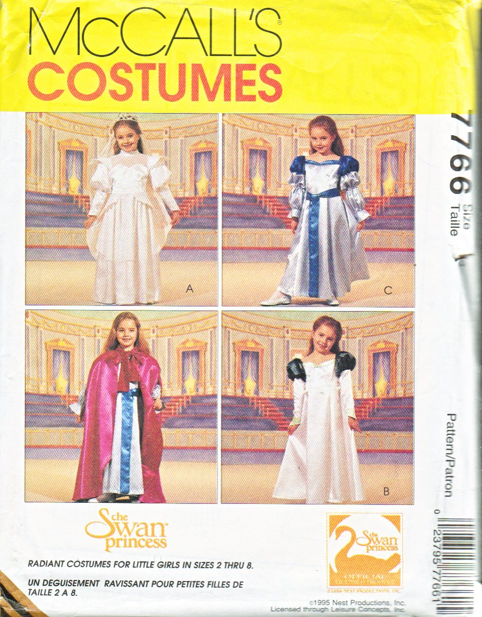 McCall�s Sewing Pattern 7766 Girls Size 3-4 Costume Swan Princess� Dresses Cape