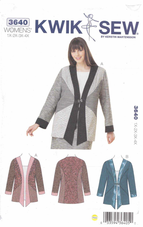 Kwik Sew Sewing Pattern 3640 Women's Plus Size 1X-4X (approx 22W-32W) Color Blocked Jacket