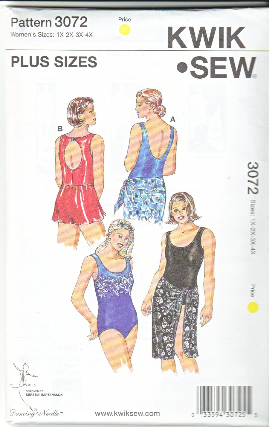 Kwik Sew Sewing Pattern 3072 Women's Plus Size 1X-4X (approx 22W-32W) One Piece Swimsuit Skirt Wrap