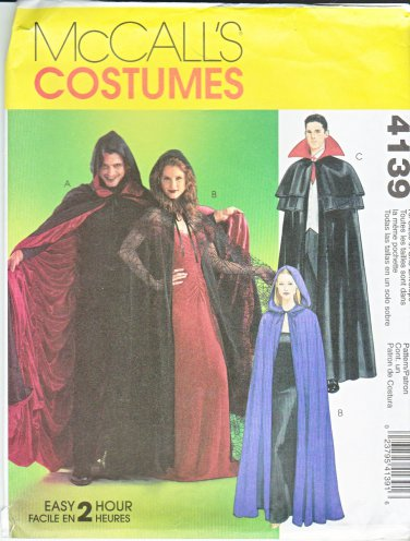 """McCall's Sewing Pattern 4139 Misses Mens Chest Size 31 1/2 - 44"""" Lined Unlined Capes Costumes"""